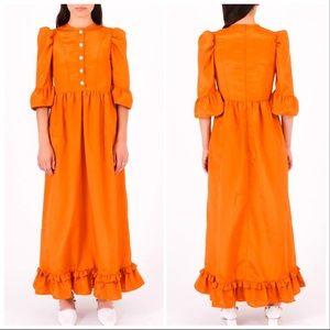 Batsheva Orange Prairie Dress 4 Small